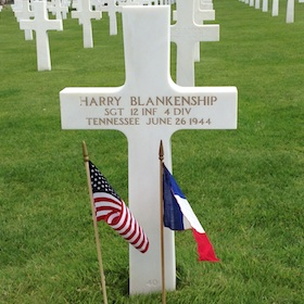 Sergeant Harry Blankenship's Grave Site, Normandy American Cemetery, July 18, 2015. Hunt Collection.