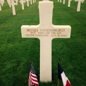 Vanderhorst's grave at Lorraine American Cemetery in France, July 20, 2015. Collection of Pren Woods.